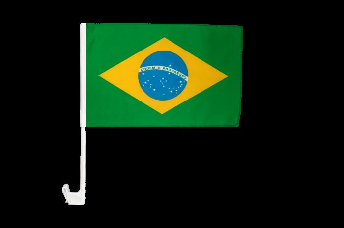 Drapeau de voiture Brésil - 8 x 8 cm