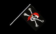 Drapeau Pirate avec foulard sur hampe - 60 x 90 cm