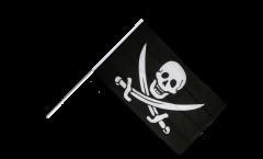 Drapeau Pirate avec deux épées sur hampe - 60 x 90 cm