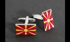 Boutons de Manchette drapeau Macédoine - 18 x 12 mm