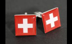 Boutons de Manchette drapeau Suisse - 18 x 12 mm