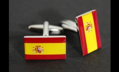 Boutons de Manchette drapeau Espagne avec blason - 18 x 12 mm