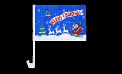 Drapeau de voiture Merry Christmas Père Noël bleu - 30 x 40 cm