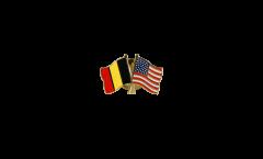 Pin's épinglette de l'amitié Belgique - USA - 22 mm