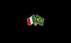 Pin's épinglette de l'amitié Italie - Brésil - 22 mm