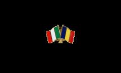 Pin's épinglette de l'amitié Italie - Roumanie - 22 mm