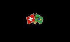 Pin's épinglette de l'amitié Suisse - Brésil - 22 mm