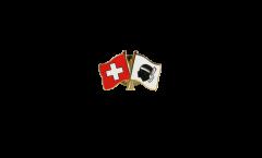 Pin's épinglette de l'amitié Suisse - France Corse - 22 mm