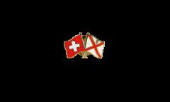 Pin's épinglette de l'amitié Suisse - Royaume-Uni Jersey - 22 mm