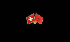 Pin's épinglette de l'amitié Suisse - Hong Kong - 22 mm