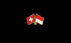 Pin's épinglette de l'amitié Suisse - Indonésie - 22 mm