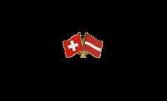 Pin's épinglette de l'amitié Suisse - Lettonie - 22 mm