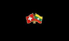 Pin's épinglette de l'amitié Suisse - Myanmar - 22 mm