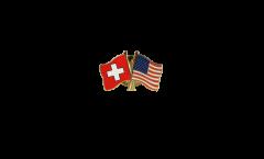 Pin's épinglette de l'amitié Suisse - USA - 22 mm