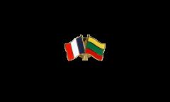 Pin's épinglette de l'amitié France - Lituanie - 22 mm