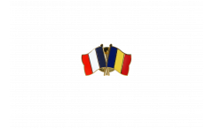 Pin's épinglette de l'amitié France - Roumanie - 22 mm