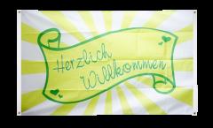 Drapeau de balcon Herzlich Willkommen Banderole - 90 x 150 cm