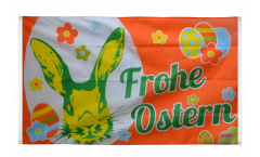 Drapeau de balcon Frohe Ostern orange lapin de Pâques - 90 x 150 cm