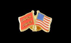 Pin's épinglette de l'amitié Basse Normandie - USA Etats-Unis - 22 mm