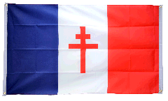 Drapeau de balcon France libre 1940-43 - Croix de Lorraine - 90 x 150 cm
