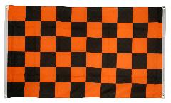 Drapeau de balcon Damier Noir-Orange - 90 x 150 cm