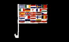 Drapeau de voiture Europe tous les pays - 30 x 40 cm