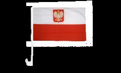 Drapeau de voiture Pologne avec aigle - 30 x 40 cm