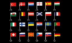 Kit Drapeaux de table Football 2021, mini drapeaux - 10 x 15 cm