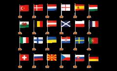 Kit Drapeaux de table Football 2021, mini drapeaux - 15 x 22 cm