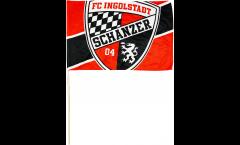 Drapeau FC Ingolstadt 04 Logo sur hampe - 30 x 45 cm