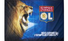 """Drapeau Olympique Lyonnais """"Lion Rugissant"""" - 100 x 140 cm"""