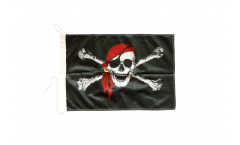 Drapeau pour bateau Pirate avec foulard - 30 x 40 cm