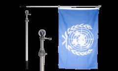 Hampe télescopique d'aluminium pour drapeaux, extensible jusqu'à 180 cm, pliée 75 cm