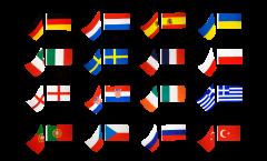 Kit drapeaux sur hampe Football 2012, 16 pays - 60 x 90 cm