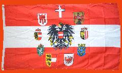 Drapeau Autriche avec des blasons des 9 länder
