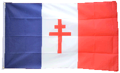 Drapeau France libre 1940-43 - Croix de Lorraine - 90 x 150 cm