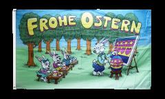 Drapeau Frohe Ostern Ecole de Lapin - 90 x 150 cm