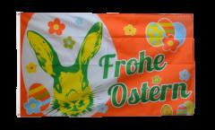 Drapeau Frohe Ostern orange lapin de Pâques - 90 x 150 cm