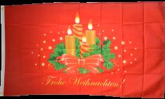 Drapeau Frohe Weihnachten avec Couronne de l'Avent - 90 x 150 cm