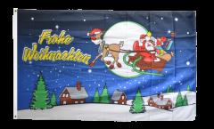 Drapeau Joyeux Noël bleu - 90 x 150 cm