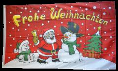 Drapeau Joyeux Noël bonhomme de neige rouge