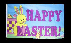 Drapeau Happy Easter avec lapin de Pâques - 90 x 150 cm