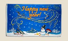 Drapeau Happy New Year avec bonhomme de neige - 90 x 150 cm