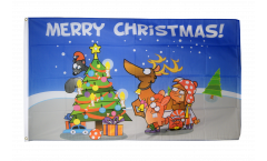 Drapeau Merry Christmas multicolore - 90 x 150 cm