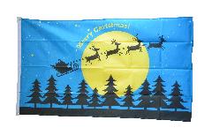 Drapeau Merry Christmas rennes et lune - 90 x 150 cm