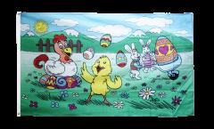 Drapeau Joyeuses Pâques lapins et poussin - 90 x 150 cm