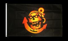 Drapeau Pirate doré avec ancre - 90 x 150 cm