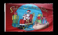 Drapeau Père Noël Frohe Weihnachten - 90 x 150 cm