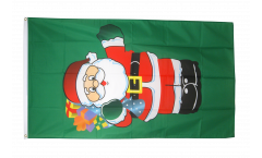 Drapeau Père Noël avec des cadeaux - 90 x 150 cm