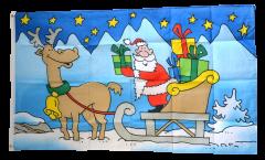 Drapeau Père Noël avec une luge